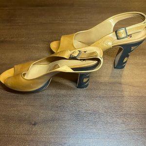 Tan leather John Fluevog Platform Sandals- 10